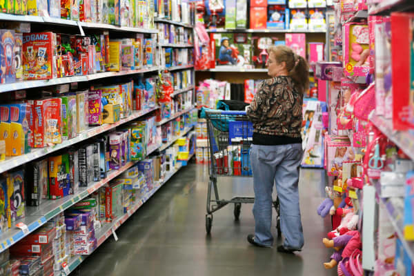 A shopper in a Walmart store in Broomfield, Colorado.