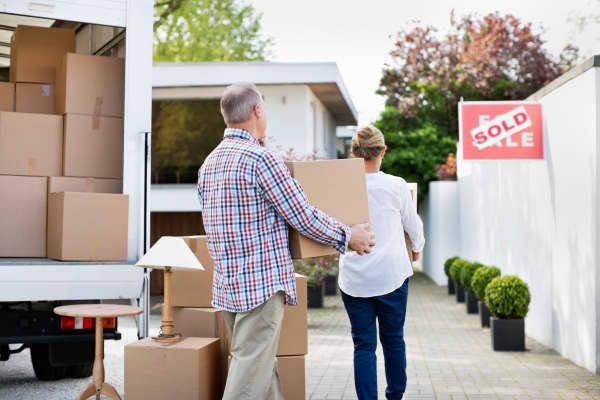 Senior couple home retirement moving