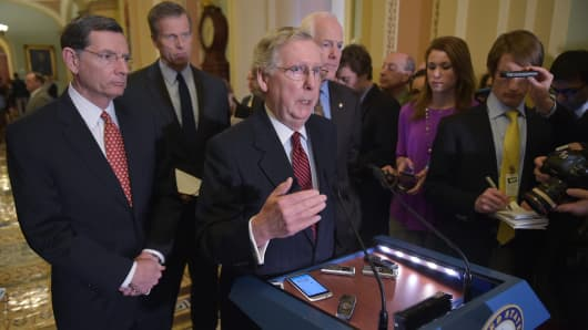 Senate Majority Leader Mitch McConnell of Kentucky speaks to reporters on Feb. 24, 2015, in the Capitol in Washington, D.C.
