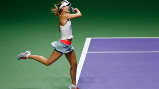 Maria Sharapova of Russia in action at the BNP Paribas WTA Finals tennis in Singapore.