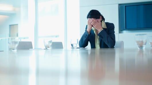 Depressed worker office