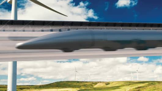A rendering of a Hyperloop by Hyperloop Transportation Technologies