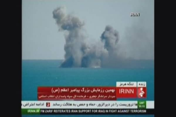 Iran blows up replica U.S. aircraft carrier in military drill