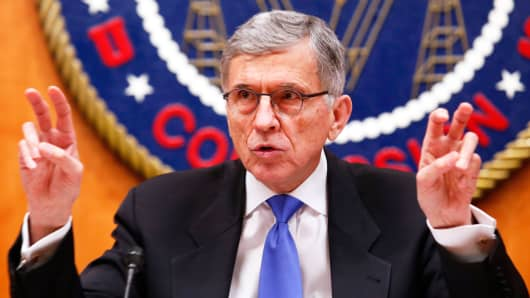 Federal Communications Commission Chairman Tom Wheeler gestures at the FCC's net neutrality hearing in Washington on Feb. 26, 2015.
