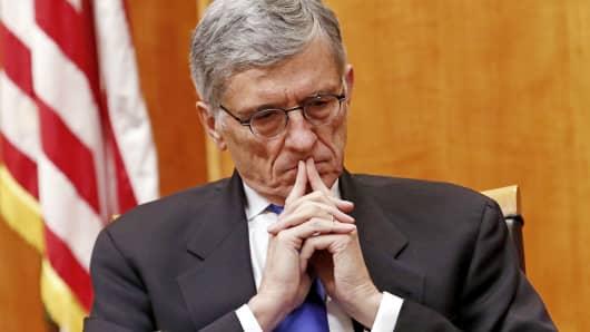 FCC Chairman Tom Wheeler listens during the net neutrality hearing in Washington on Feb. 26, 2015.