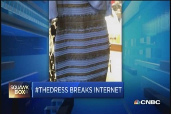 Blue dress on the internet