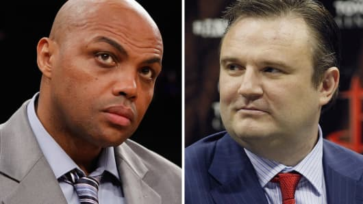 Charles Barkley (L) and Daryl Morey (R).