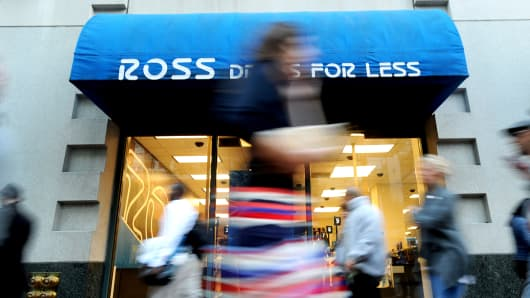 Pedestrians pass in front of a Ross Stores location in San Francisco.