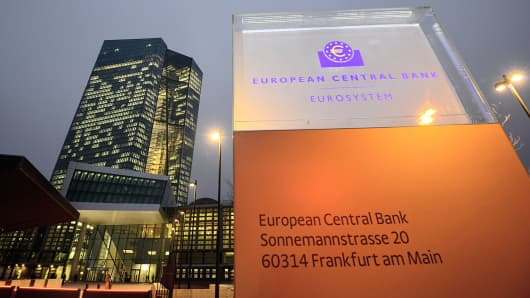 The new headquarters of the European Central Bank (ECB) is shown in Frankfurt am Main, Germany, Dec. 4, 2014.
