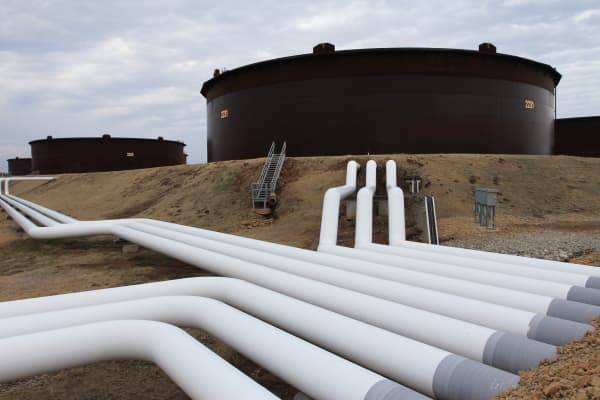 Pipelines and oil storage tanks in Cushing, Okla.