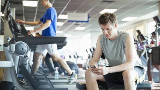 Men in fitness center