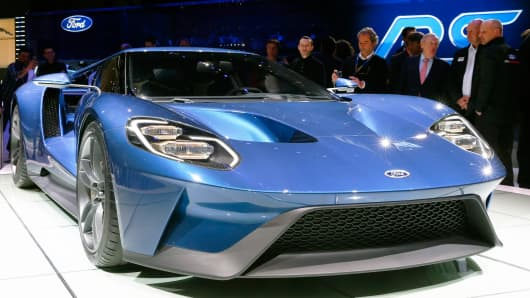 A Ford GT is seen at the 85th International Motor Show in Geneva on March 3, 2015.