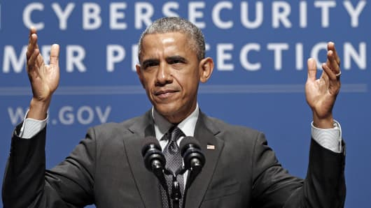 President Barack Obama speaks at the Summit on Cybersecurity and Consumer Protection at Stanford University in Palo Alto, Calif., Feb. 13, 2015.