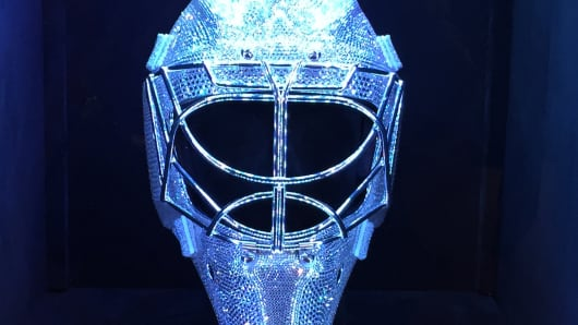 A goalie mask designed by Don Blanton for the New York Rangers' Henrik Lundqvist.