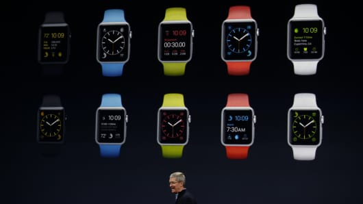 Apple CEO Tim Cook debuts the Apple Watch Sport during an Apple special event at the Yerba Buena Center for the Arts on March 9, 2015 in San Francisco, California.