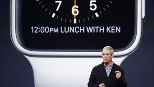 Apple CEO Tim Cook announces the Apple Watch during a company special event at the Yerba Buena Center for the Arts on March 9, 2015, in San Francisco.