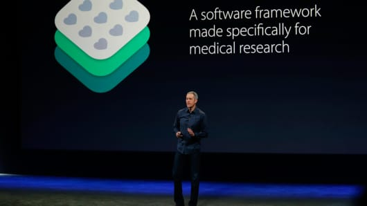 Apple Senior Vice President of Operations Jeff Williams announces ResearchKit on March 9, 2015 in San Francisco.