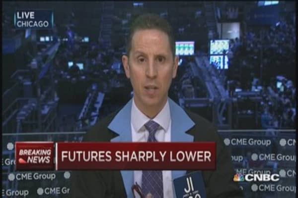Futures sharply lower as euro drops