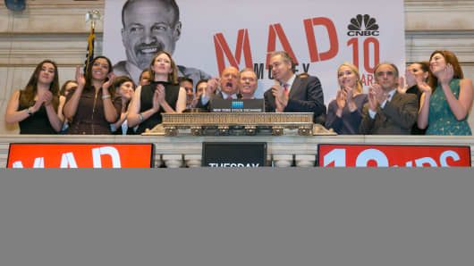 Jim Cramer rings the opening bell at the NYSE to celebrate the 10th Anniversary of Mad Money.