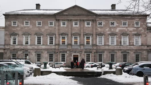 Leinster House, home of the Dail or Irish Parliament, in Dublin, Ireland