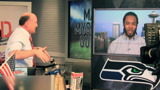 Jim Cramer recieves a surprise call from Richard Sherman of the Seattle Seahawks.