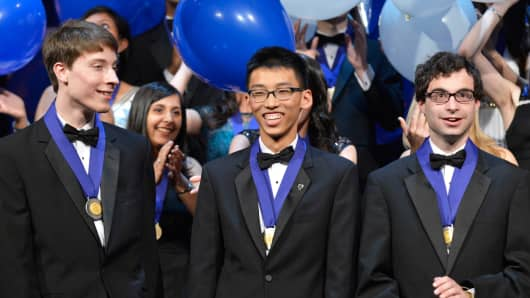 Intel Science Talent Search first place winners (left to right) Noah Golowich (Mass.), Andrew Jin (Calif.) and Michael Winer (Md.)