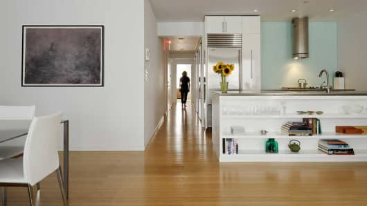 Interior of a unit at Switch Building, an apartment and art gallery in New York City.
