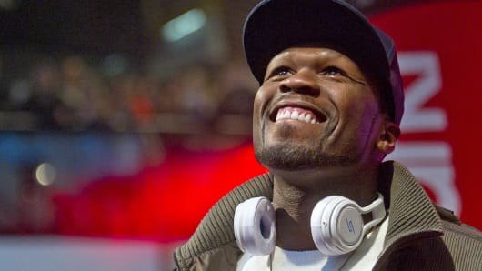 "Rapper Curtis ""50 Cent"" Jackson presents his SMS headphones in Berlin."