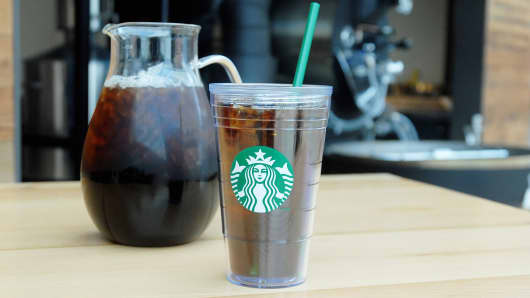 Starbucks' Cold Brew is coffee steeped using cool water, while traditional iced coffee is made by brewing hot coffee at double-strength and pouring over ice.