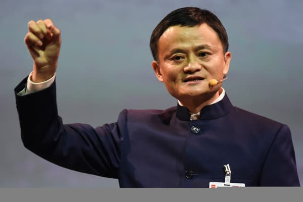 Alibaba founder and chairman Jack Ma makes a speech during the official opening of the CeBIT trade fair in Hanover March 15, 2015.