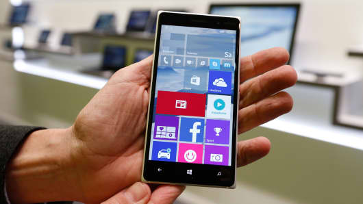 Windows 10 operating system on a smart phone at the CeBIT trade fair in Hanover, Germany, March 14, 2015.
