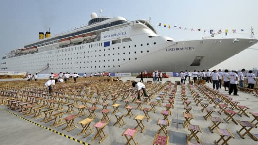 The international luxury liner Costa Romantica arrives at the Tianjin International Cruise Homeport in China.