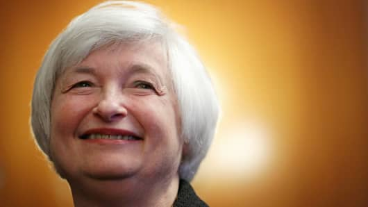 Federal Reserve Chair Janet Yellen listens during a reception for her on Capitol Hill in Washington.