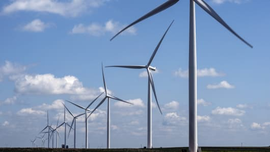 A wind farm managed by MidAmerican Energy, a subsidiary of Berkshire Hathaway in Marshalltown, Iowa