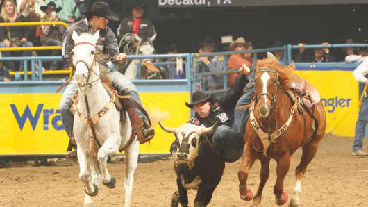 Professional steer wrestler K.C. Jones competes at the 2014 National Finals Rodeo.