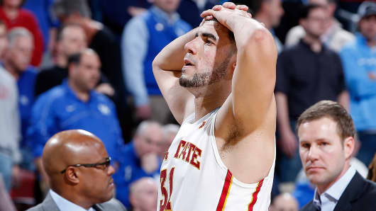 Iowa State's Georges Niang reacts during the NCAA tournament game against UAB in Louisville, Ky., Thursday, March 19, 2015.