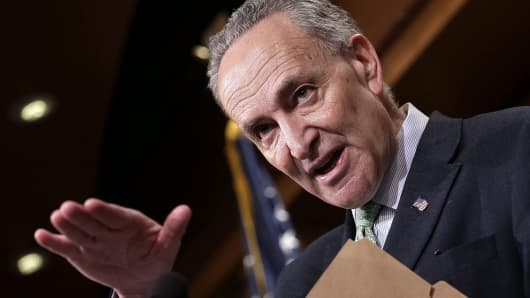 Sen. Charles Schumer (D-NY) speaks during a press conference at the U.S. Capitol March 17, 2015 in Washington.