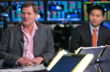 Author Michael Lewis and Brad Katsuyama, president and CEO IEX Group Inc.