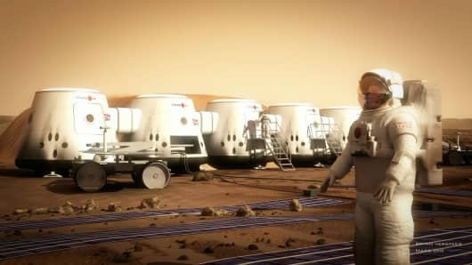 An outside view of conceptual Mars One habitats