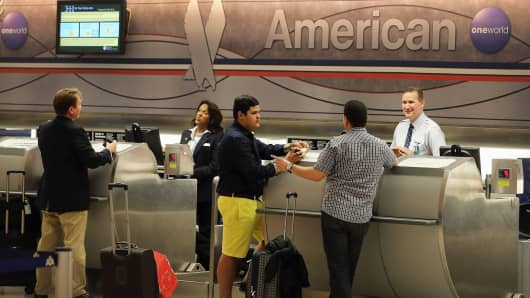 An American Airlines ticket counter in Miami.
