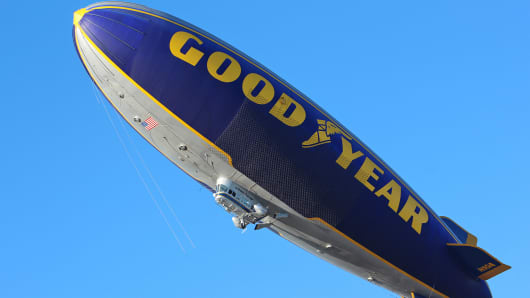 One of Goodyear's blimps in flight.