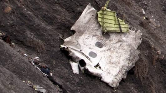 Debris of the Germanwings Airbus A320 at the crash site in the French Alps.