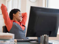 Woman happy office