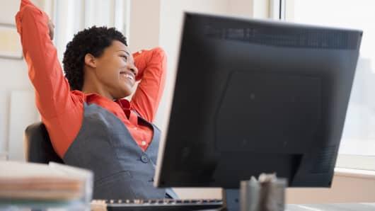 Woman happy office
