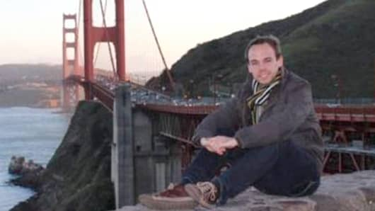 This photograph is reported to show Andreas Lubitz, the Germanwings co-pilot in front of the Golden Gate bridge.  His identity has been verified by a local German newspaper.