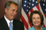 House Minority Leader Nancy Pelosi (D-CA) (R) and House Speaker John Boehner (R-OH).