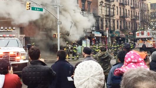 At least 30 people were hurt in the partial collapse of a building in the East Village section of New York, March 26, 2015, according to law-enforcement officials.