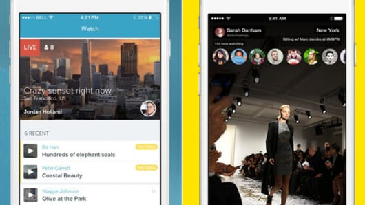 Periscope app, left, and Meerkat app