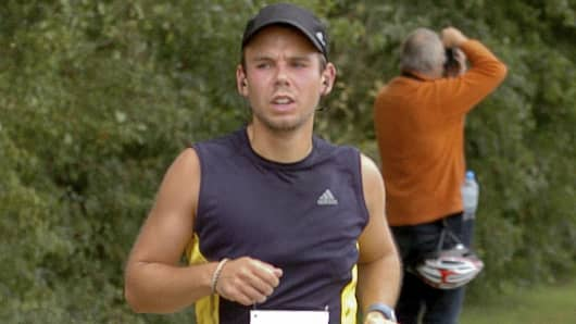 Andreas Lubitz runs the Airportrace half marathon in Hamburg, Germany, in this Sept. 13, 2009 photo.