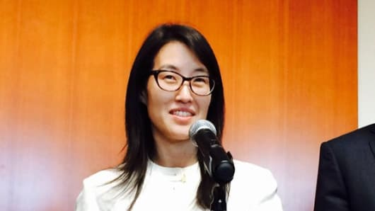 Ellen Pao speaks to the media on March 27th, 2015.